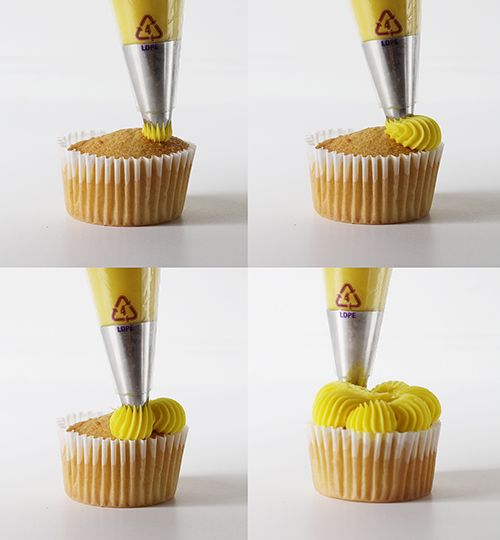Four Cupcake Decorating Techniques Using A Large French Star Tip Cucpakes Cupcakedecorating Pipingtutorial