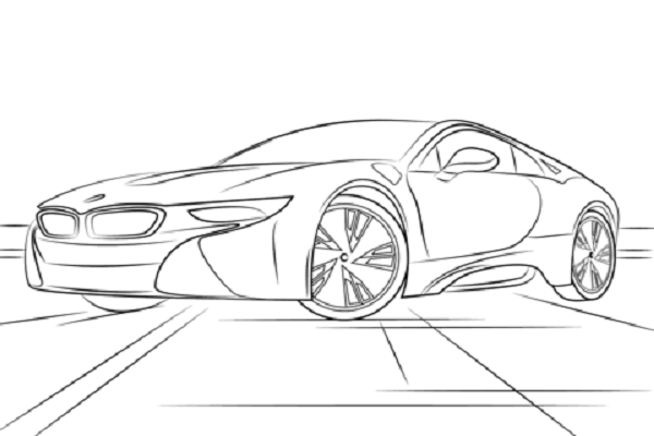 bmw i8 coloring page  the bmw i8 is a plug