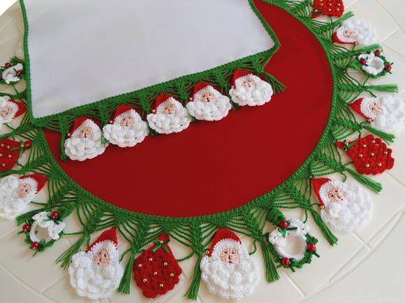 Toalha Papai Noel Arvore De Natal Croche Msmusical Croche E Arte