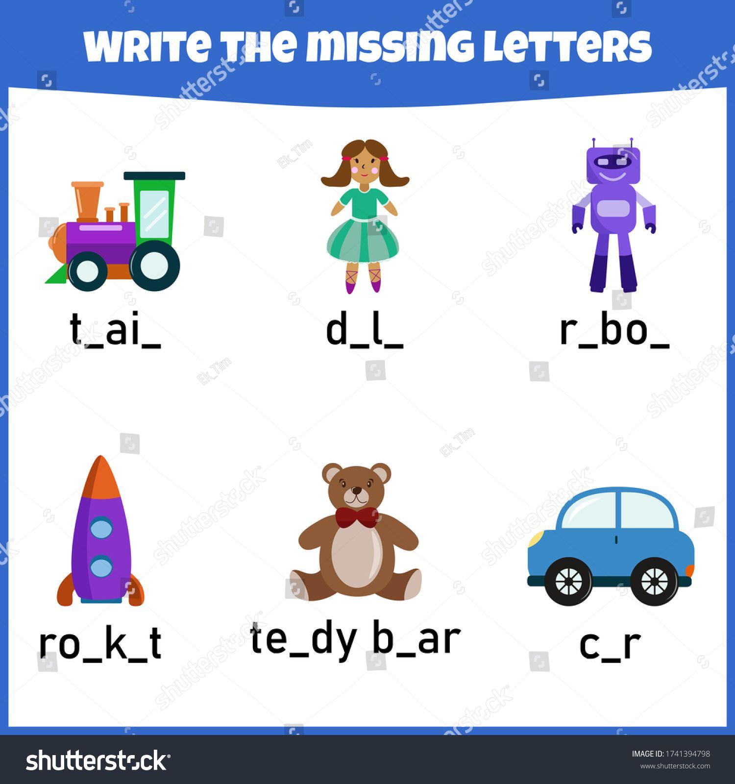 Write The Missing Letter Worksheet For Education Fill In