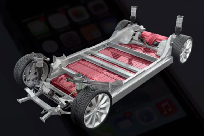 Platform of the Tesla Model S. Batteries are placed in the ...