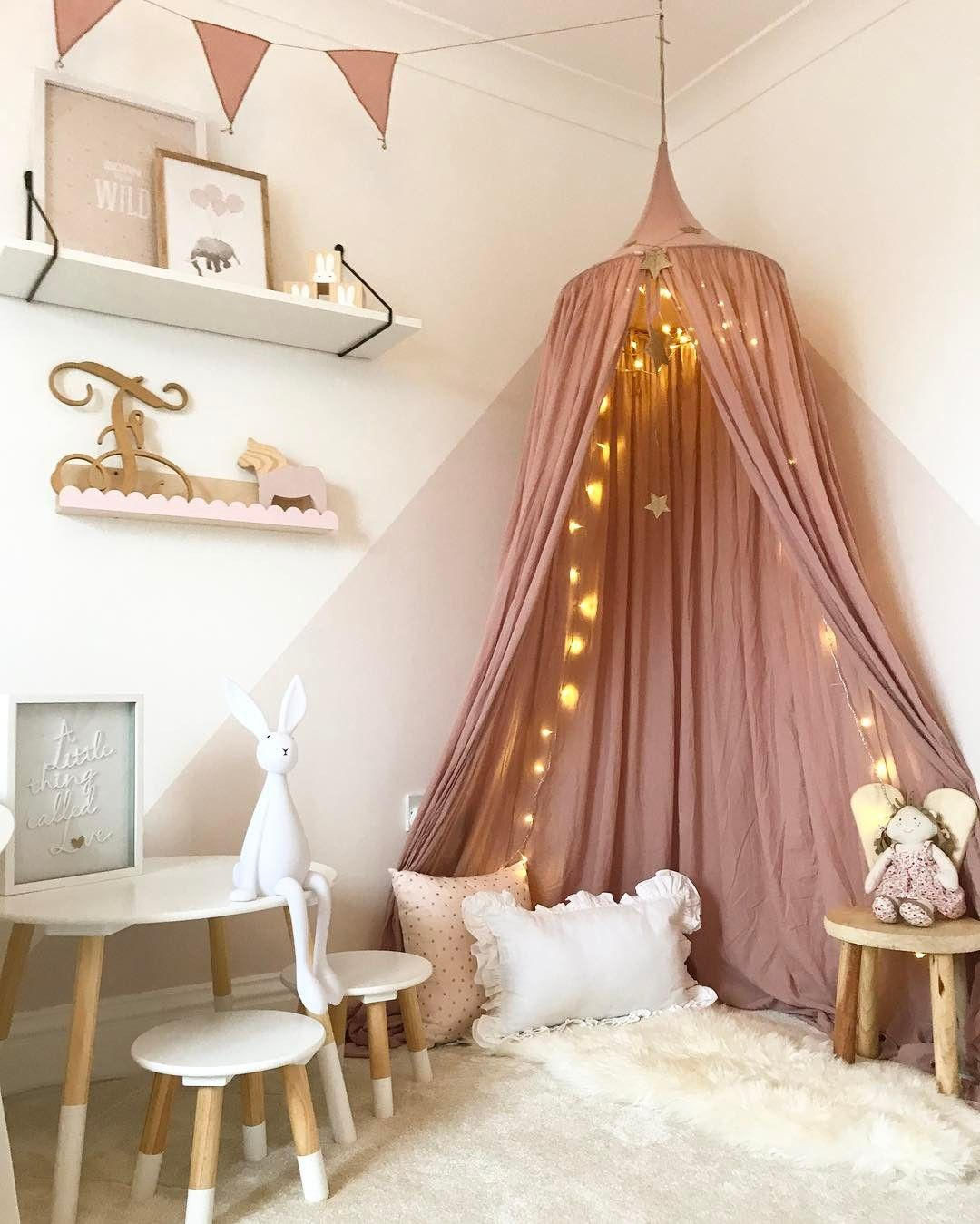Beautiful Girlish Room Featuring Our Dusty Pink Canopy And Bunting Garland Pink Girl Room Children Room Girl Pink Bedroom Decor