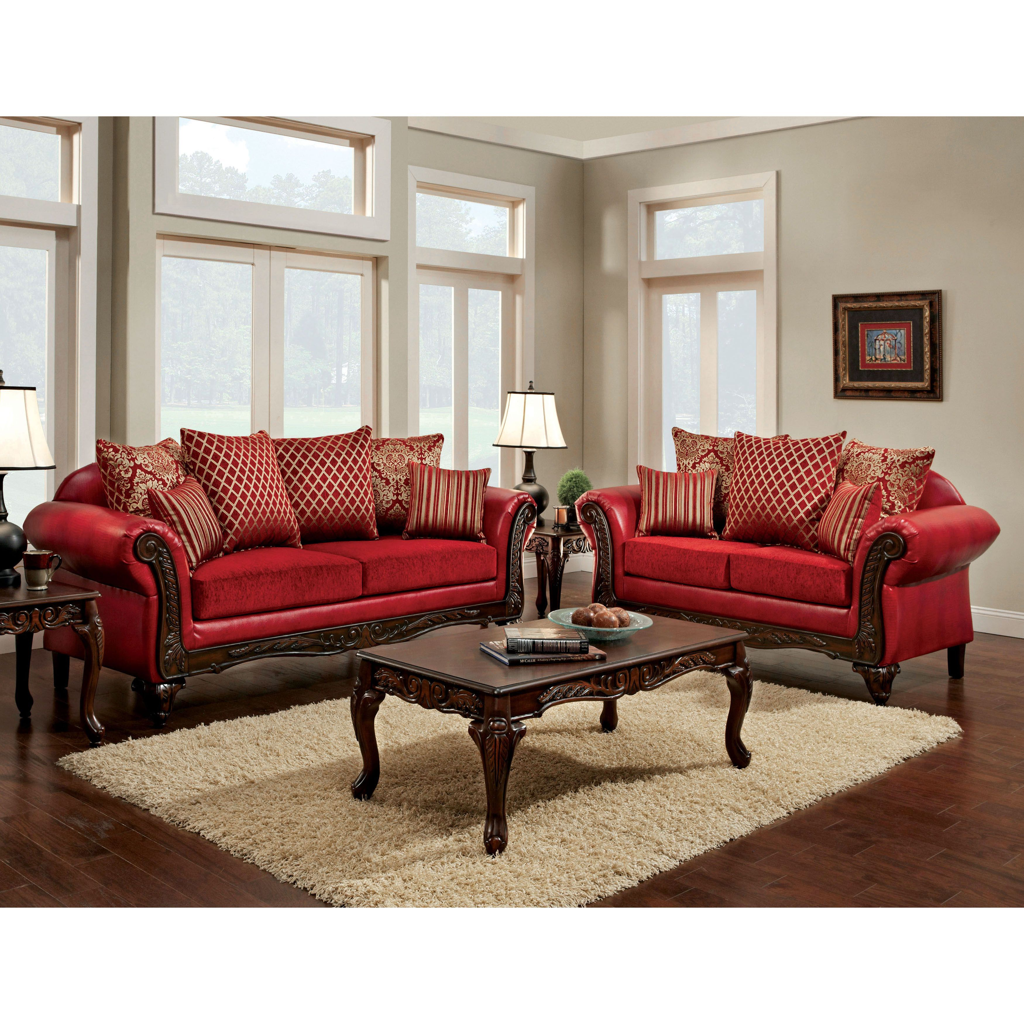 Furniture Of America Cardinal Formal 2 Piece Traditional Red Sofa Set