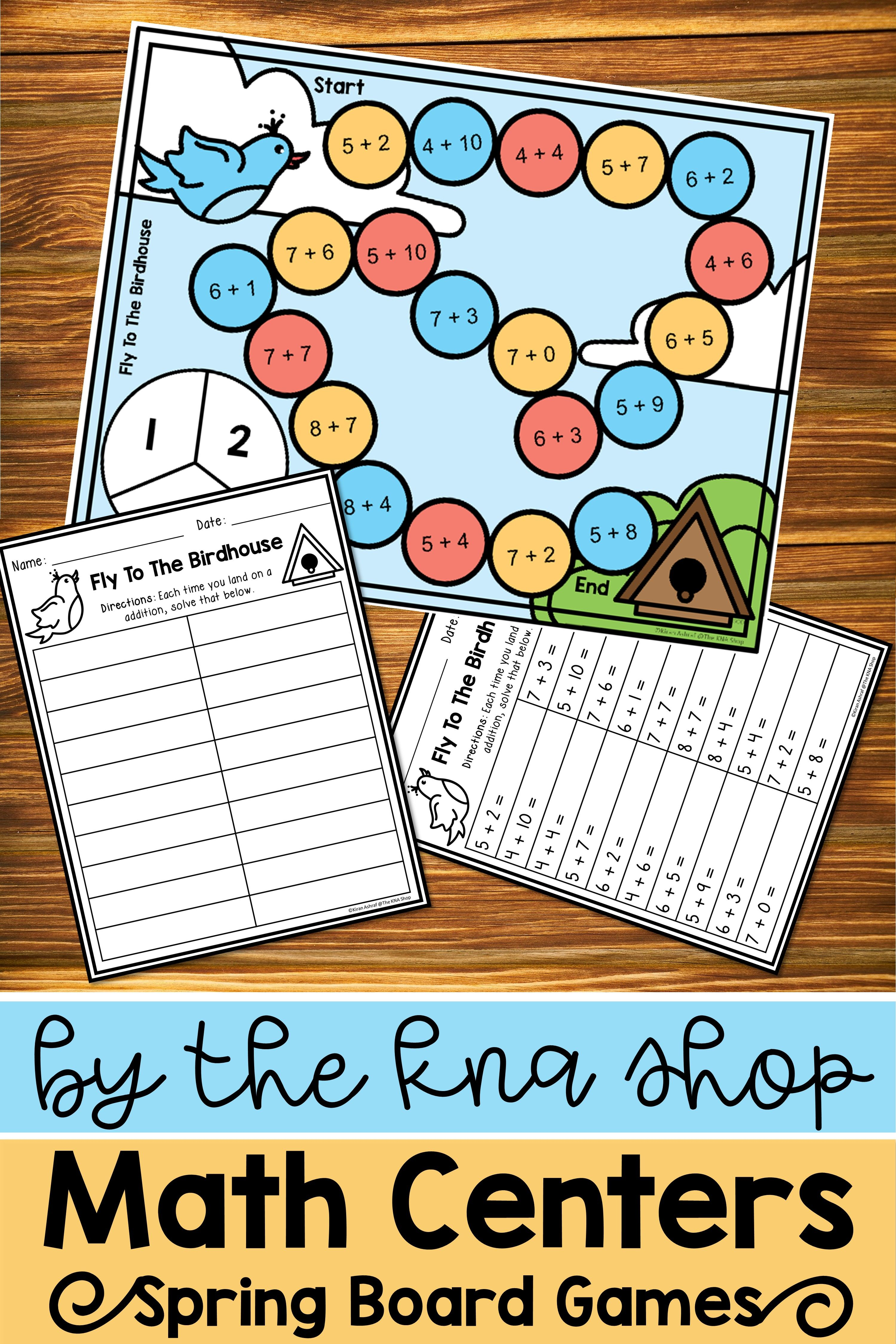 Editable Spring Board Games Addition Within 20 Math Centers Board Games Recording Sheets Board game addition letters