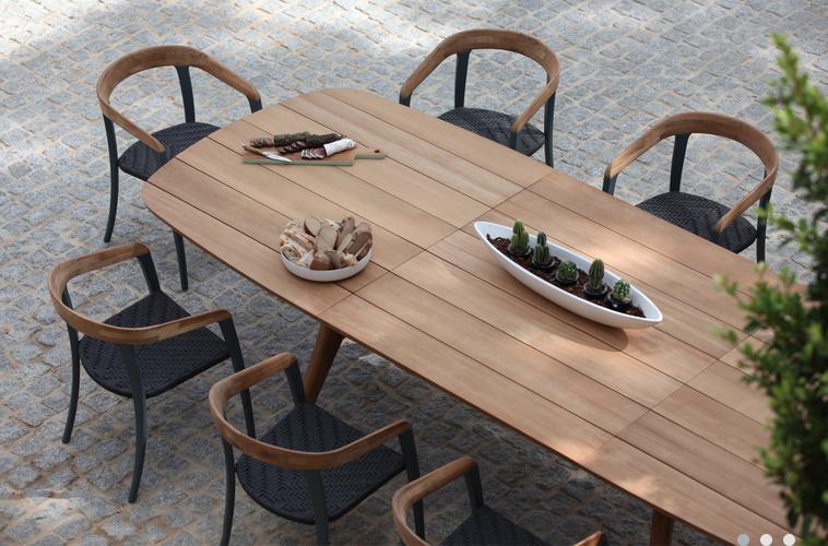 Table Bois Teck Exterieur Ovale Déco Cour Arrière 야외