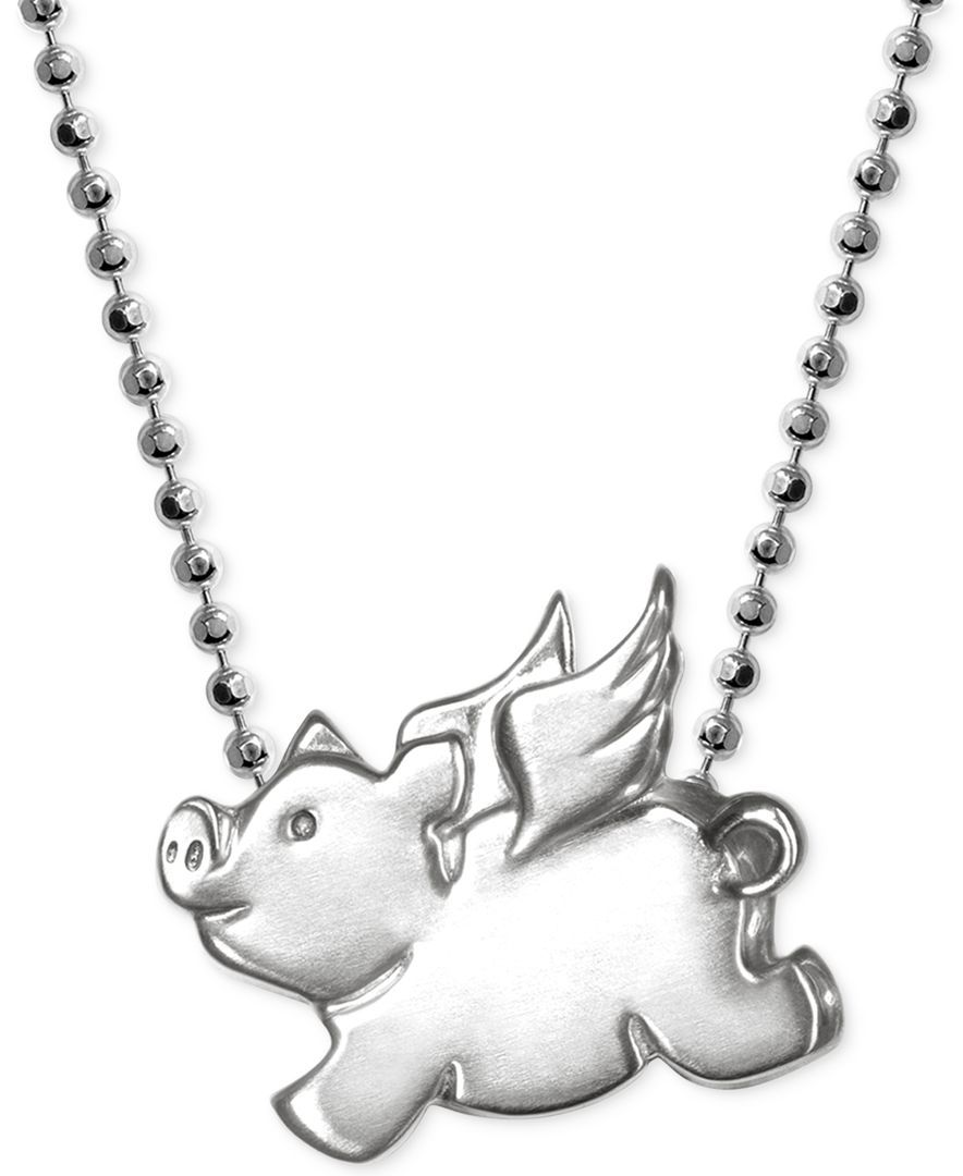 Little pig zodiac pendant necklace in sterling silver