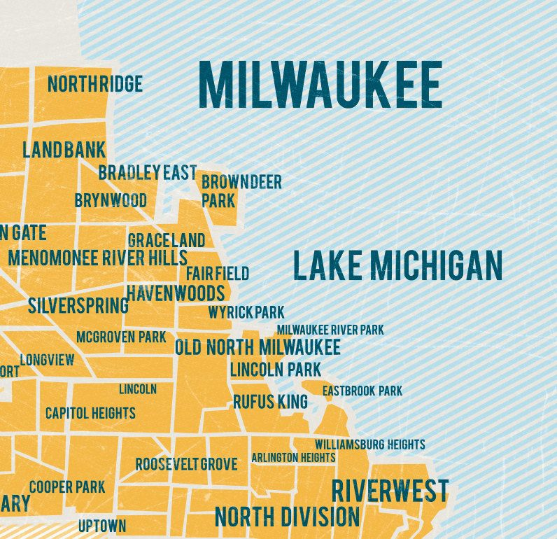 Milwaukee Map Poster In Yellow