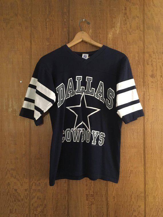 Vintage 90s navy blue   white Dallas Cowboys NFL football ringer T shirt by  Logo 7 size M 8b2815b6e