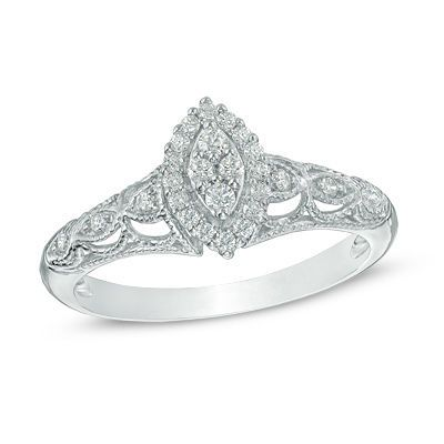 Zales 1/8 CT. T.w. Composite Diamond Frame Promise Ring in 10K White Gold CqWKjH