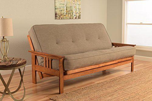 Kodiak Furniture Kfmobblstnlf5md3 Monterey Futon Set With Barbados Finish Full Linen Stone Best Value On Livingroomset