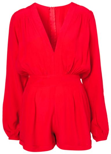 ChicNova Red V-neckline Long Sleeves Chiffon Jumpsuits & Rompers on shopstyle.com