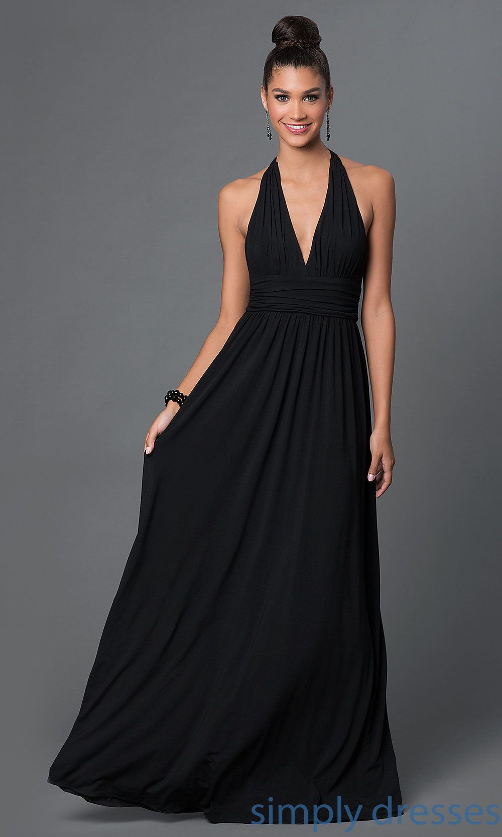 Long Black Formal Halter Dress