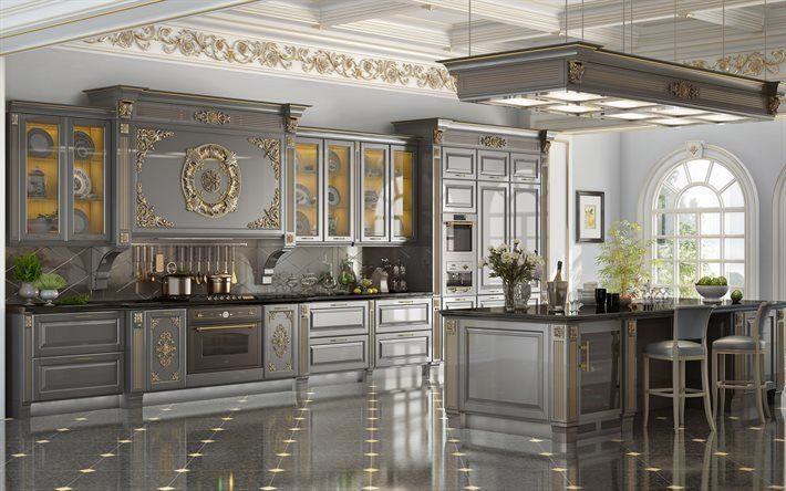 Download Wallpapers Classic Kitchen Design Gray Kitchen Classic Interior Design Gold Elements Besthqwallpapers Com Classic Kitchen Design Ornate Kitchen Interior Design Kitchen Small