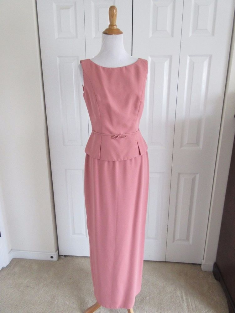 WATTERS & WATTERS Size 6 Salmon Pink 2 Pink Long Formal Skirt Suit Dress Wedding #SkirtSuit