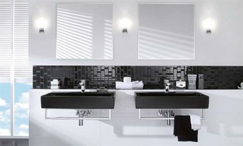 33 dunkle badezimmer design ideen - bad-einrichtung-schwarz-weiß,