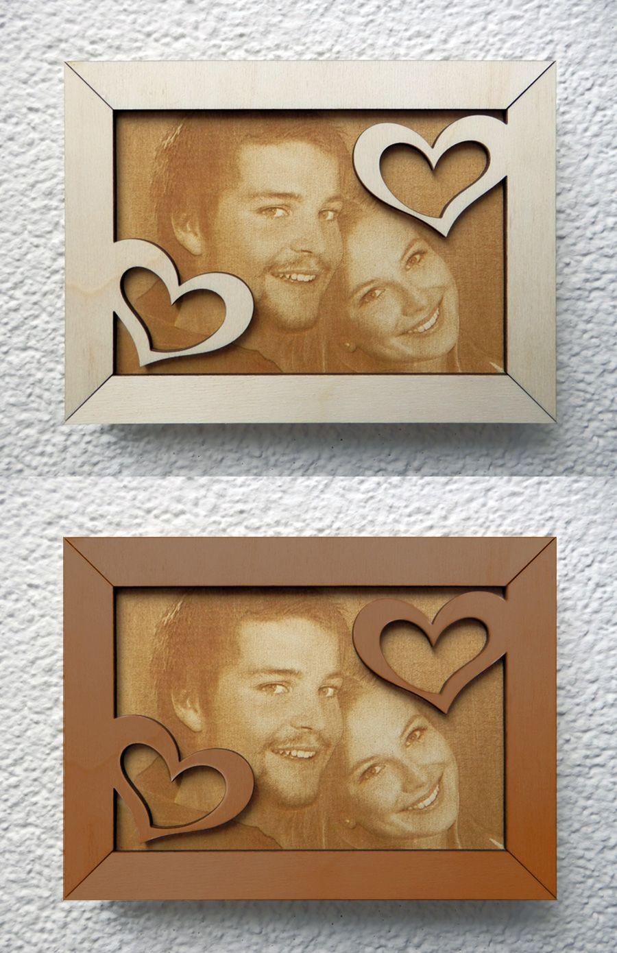 Foto lasergraviert auf Holz. Rahmen lasergeschnitten mit Ornamenten ...