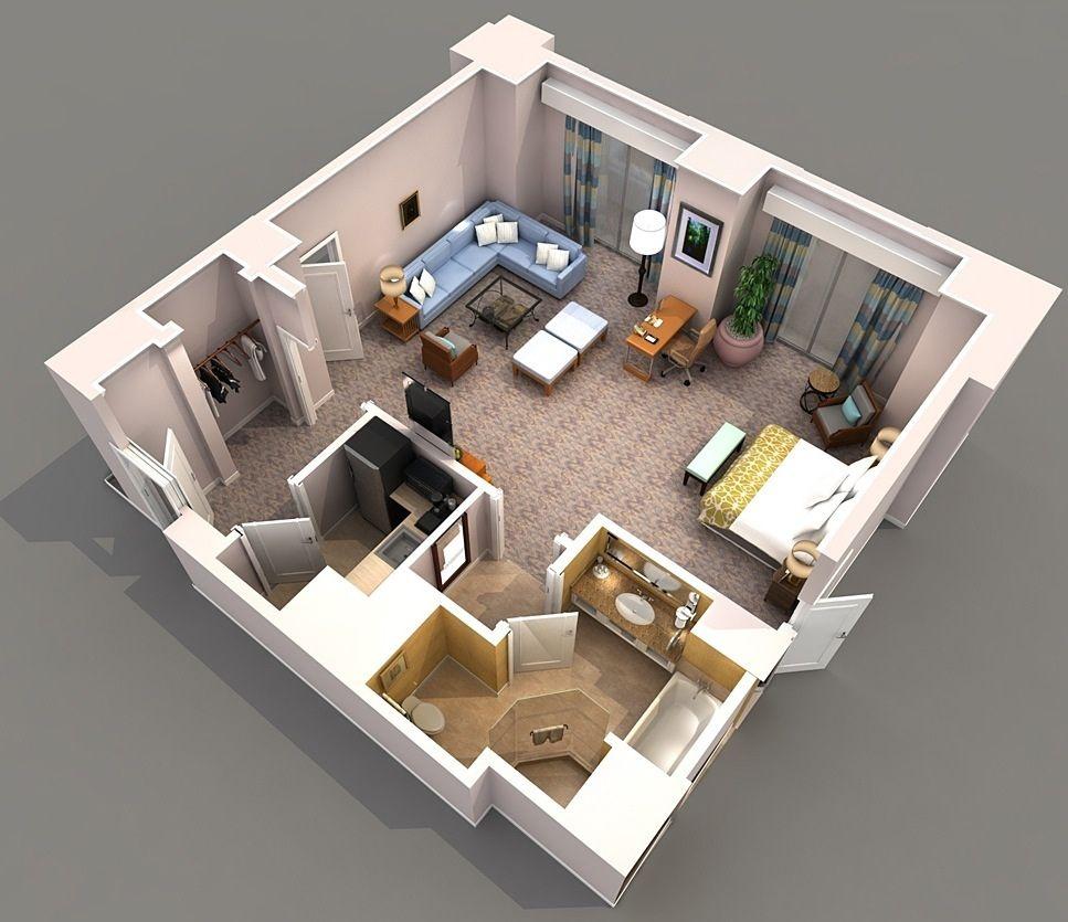 Planos de apartamentos peque os de un dormitorio studio for Planos de casas con medidas