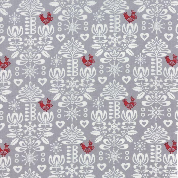 Mist Damask Folk Art Holiday - Moda Fabric from the Christmas fabric collection Folk Art Holiday by Gina Martin for Moda