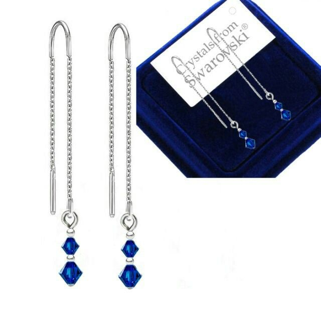 Bp_natural_uk-Sterling Silver Pull Long Through Earrings Capri Blue Crystals from Swarovski®-$10.78