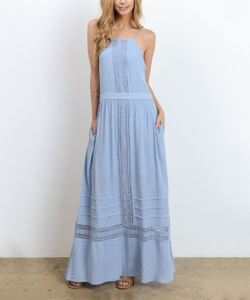 Look what I found on #zulily! Blue Side-Pocket Maxi Dress by Doe ...