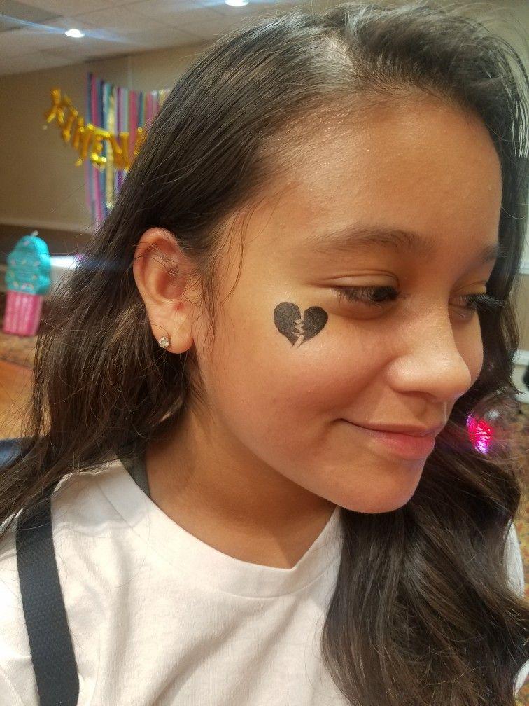 Black Broken Heart Face Painting Face Painting Designs Heart