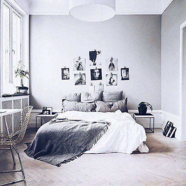 Grey white bedroom minimalistic pinterest pink for Black white and grey room decor
