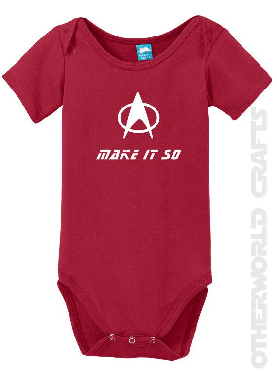2f08f3ee0278 Sale MAKE IT SO Star Trek Baby Onesie by OtherWorldCrafts