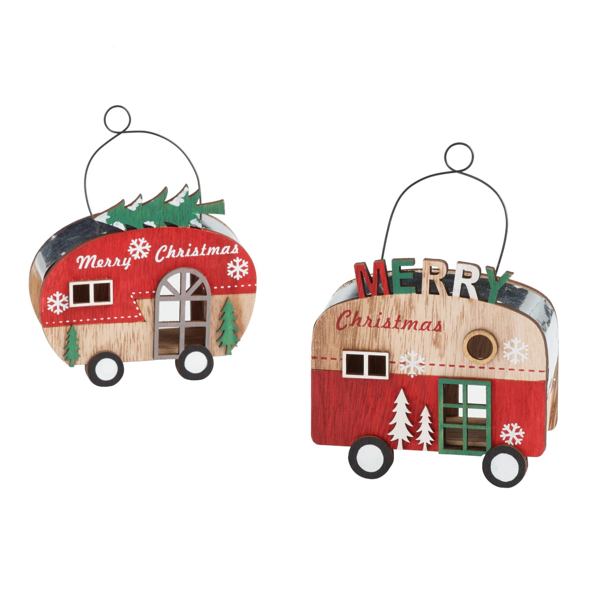 Metal And Wood Christmas Trailer Ornaments Set Of 2 Multi Small By World Market Christmas Trailer Unique Christmas Ornaments Christmas Trailer Ornament