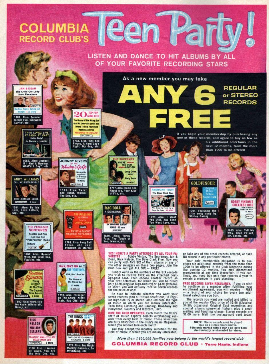Columbia Record Club 1965 1960 S Ads Comic Books