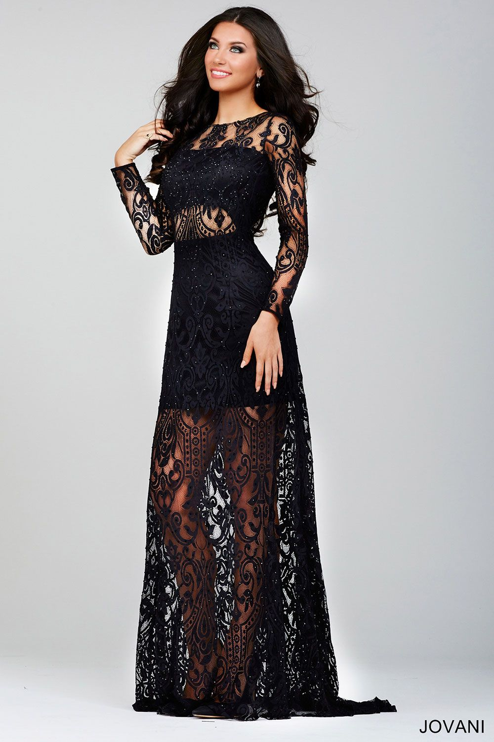 Long Black Lace Prom Dress Photo Album - Reikian
