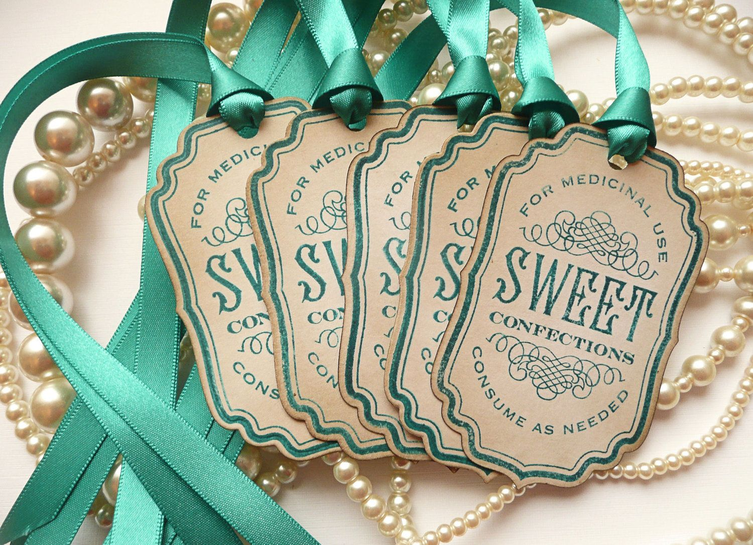 Candy Labels Sweet Confections Vintage Inspired Teal Ribbon Buffet Table Decoration Wedding Favor