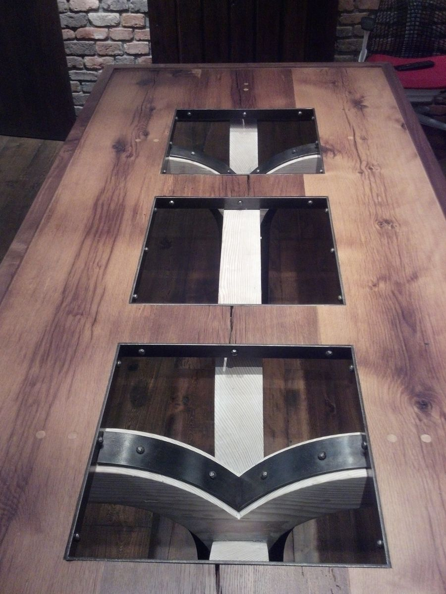 Images about old barn wood furniture on pinterest - Conference Dining Room Table Made Of Reclaimed Barn Wood And Iron With A Glass Top