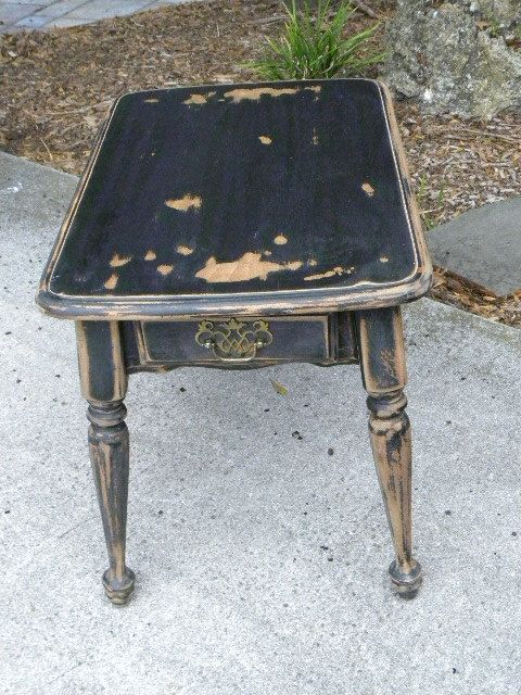 Hand Painted Vintage Shabby Black Painted Side Table 135 00 Via