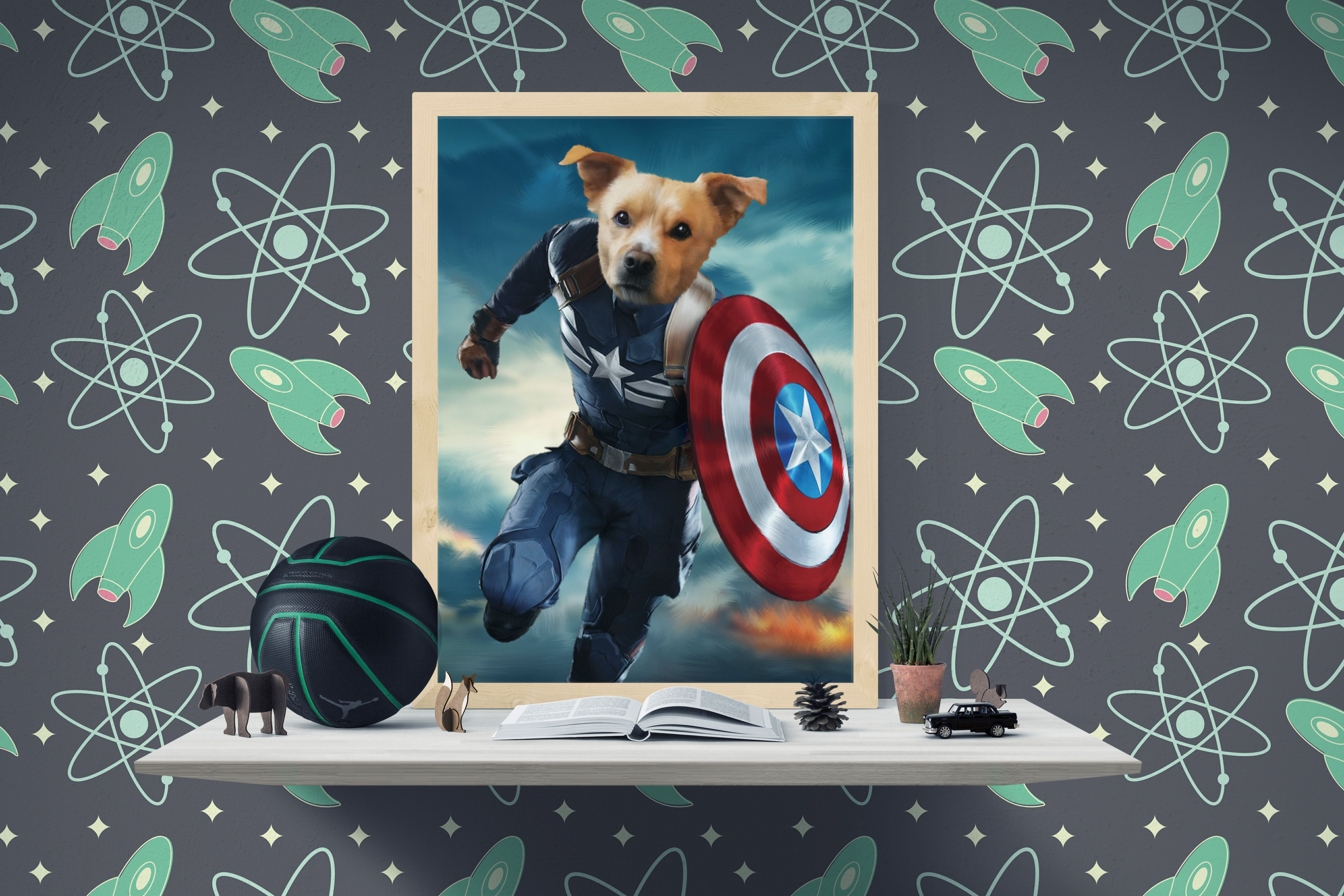 Captain America Dog Portrait, Dog Lover or dog owner gift ideas,
