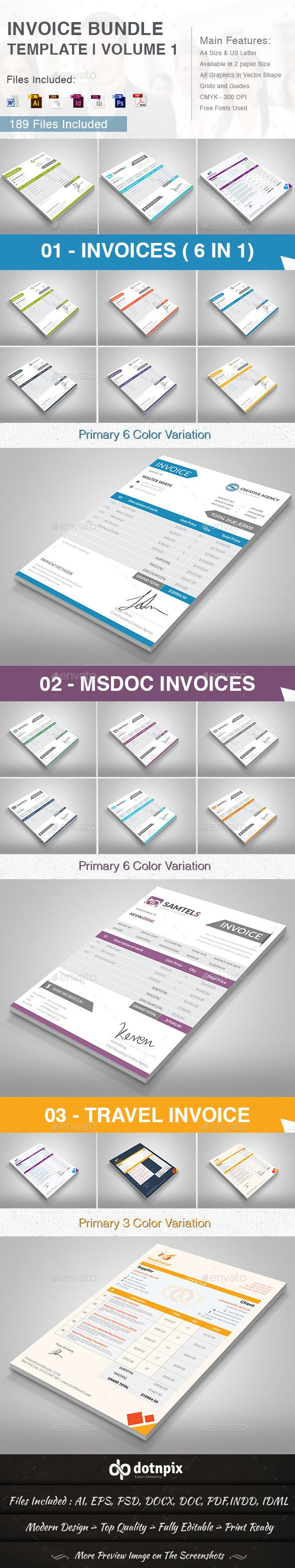 Invoice Bundle Template Volume 1 Bundle Warehouse Pinterest