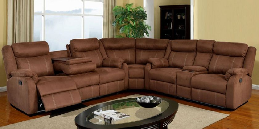 Sectional Recliner Sofa With Cup Holders