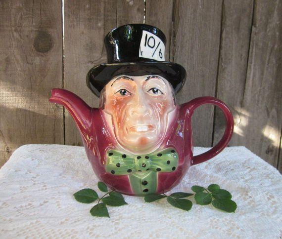 Rare Tony Wood Staffordshire Books Pottery Teapot England Antique