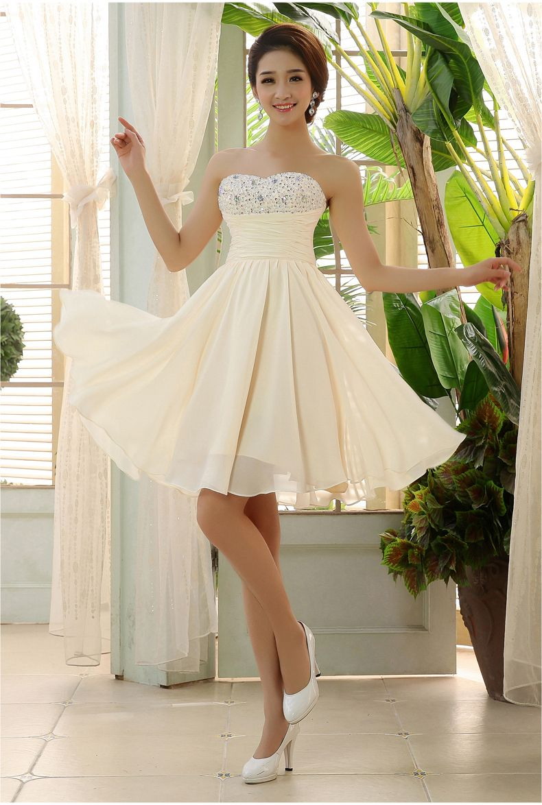 Pretty quality In Stock New Sweetheart Champagne ivory Short ...