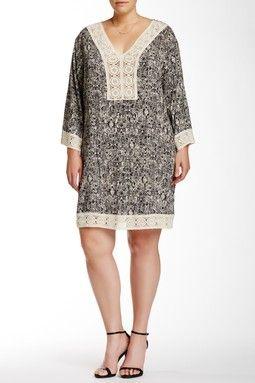 Printed Crochet Tunic (Plus Size)