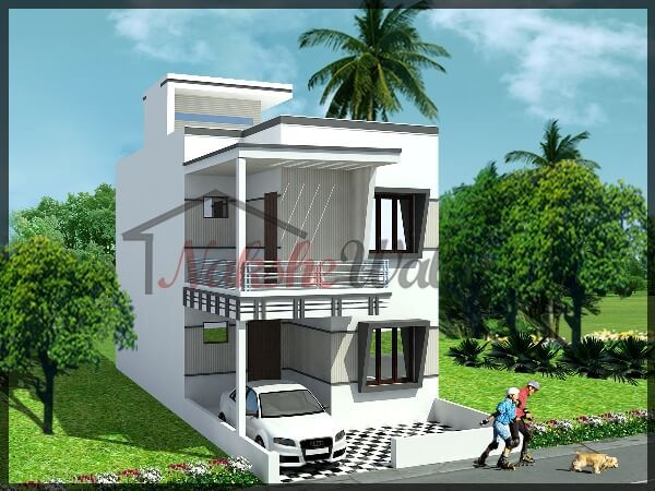 Indian house design front view images for Small indian house images