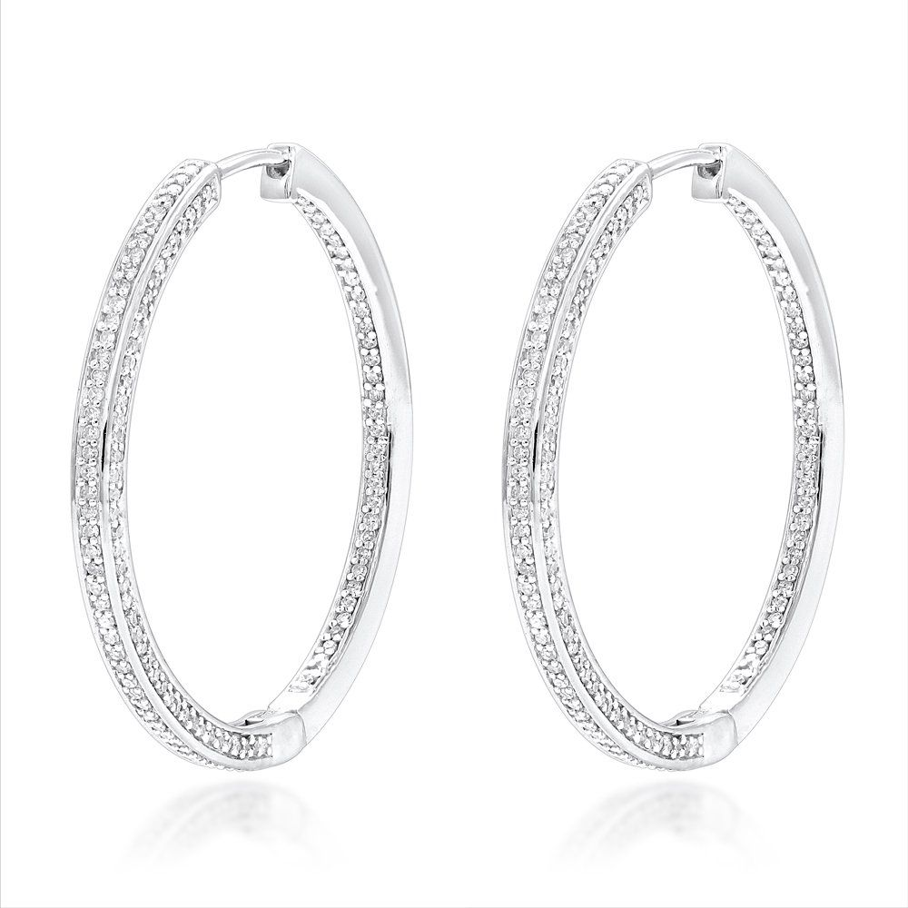 hoop wh carat diamond pave earrings p gold