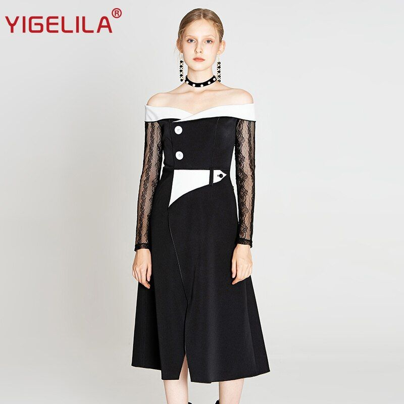#yigelila #2019 #latest #spring #women #high #street #fashion #slash-neck #mid-calf #patchwork #lace #a-line #empire #slim #elegant #dress #64306 #dresses