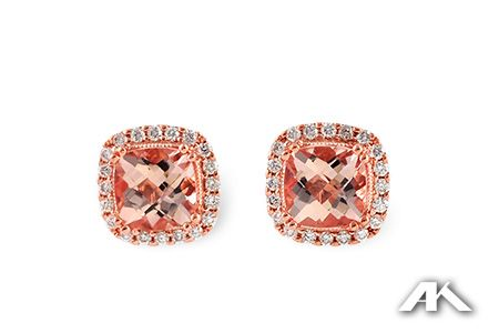 Morganite Diamond Earrings set in Rose Gold Pinks Purples