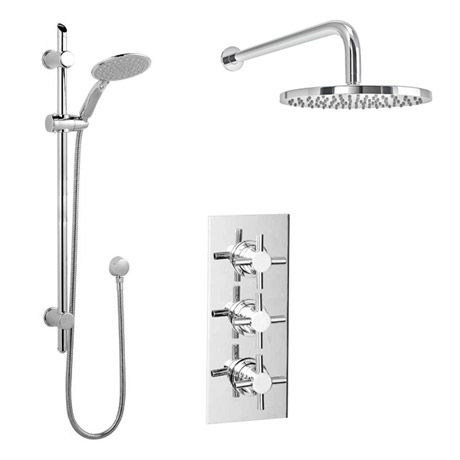 Pablo Triple Thermostatic Valve with Round Shower Head and Slider ...