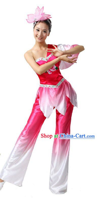 Traditional Chinese Fan Lotus Dance Costume for Women  9197b767c