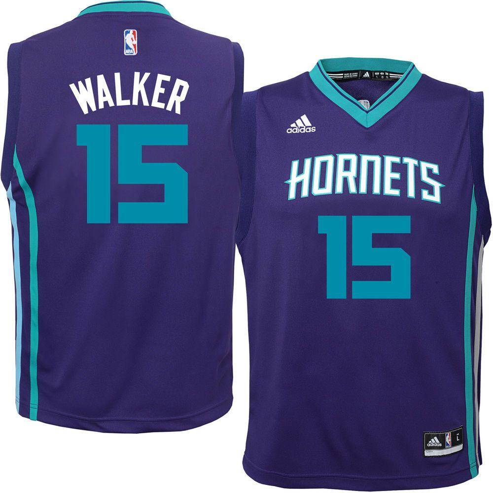 Youth Charlotte Hornets Kemba Walker adidas Purple Replica Jersey