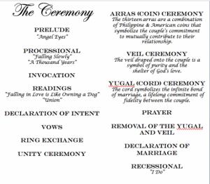 Ceremony Incorporating Filipino Traditions Wedding Programs Ceremonies Fantasy