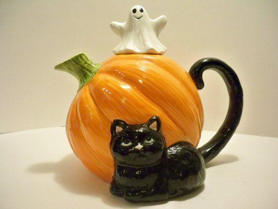 1980s Halloween Pumpkin Tea Pot with Black by VintageFindsbySuzi, $14.00