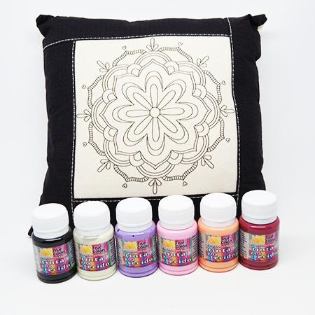 Kit - Mini almofada + tintas para tecido