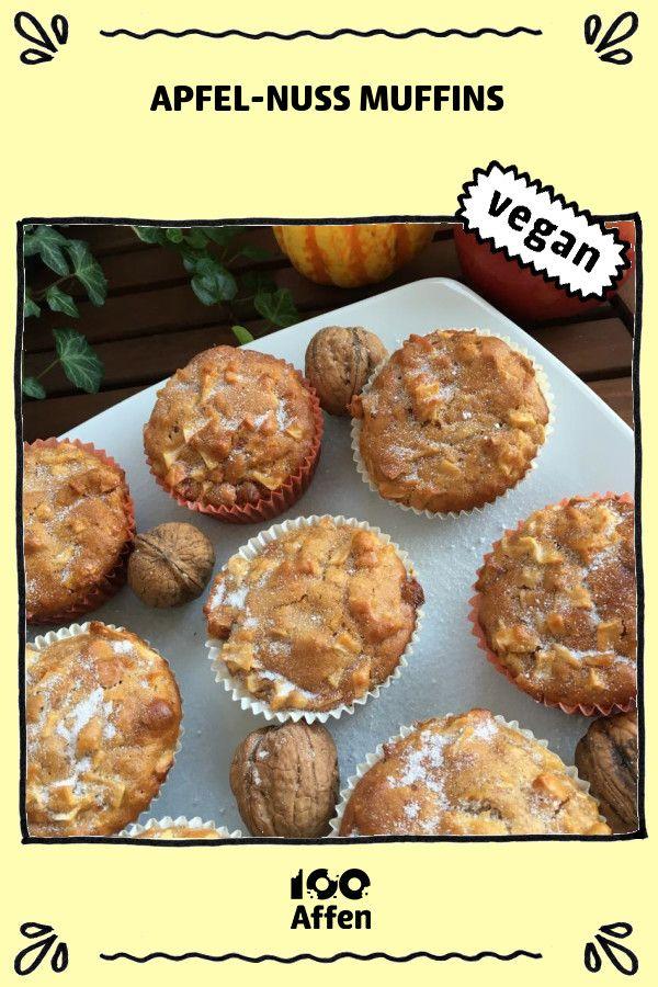 Apfel-Nuss Muffins ► Veganes Rezept auf 100Affen.de